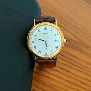 Vintage Seiko Watch with Leather Band